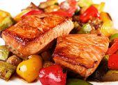 Salmon Teriyaki Over Vegetables
