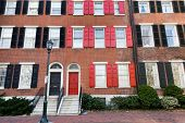 picture of brownstone  - Colorful brick townhouses on Washington square - JPG