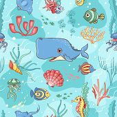stock photo of whale-tail  - Seamless pattern with whale - JPG