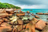 stormy Anse Lazio beach, Praslin island, Seychelles