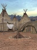 foto of teepee  - 3D Render of an Traditional teepee village - JPG
