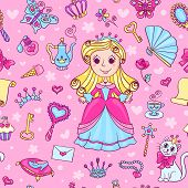 Seamless Pattern With Cute Little Princess