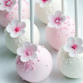 picture of cake pop  - Wedding cake pops in pink and white - JPG