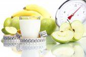 diet food milk glass fruit Apple meter scales