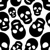 Seamless Skull Pattern. Abstract Black and White Background. Vector Regular Texture