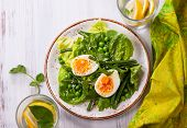 Spring salad with green beans, pea and eggs