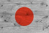 Japan National Flag Painted Old Oak Wood Fastened