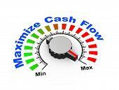image of maxim  - 3d illustration of knob set at maximum for maximize cash flow - JPG