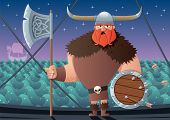 foto of viking ship  - Cartoon Viking on board of Viking ship - JPG
