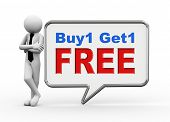 3D Businessman With Speech Bubble - Buy1 Get1 Free