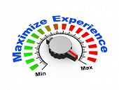 picture of maxim  - 3d illustration of knob set at maximum for maximize experience - JPG