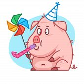 Pig character blowing in whistle