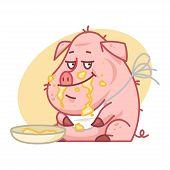 Pig character eating porridge