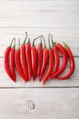 red chilli arranged in a line