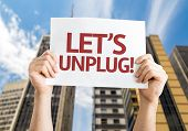 Let's Unplug! card with urban background