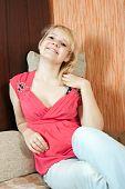 Girl Poising On Sofa