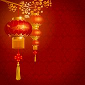 Beautiful vector background with red paper circular Chinese lanterns