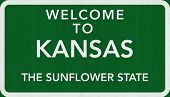 picture of kansas  - Kansas USA State Welcome to Highway Road Sign Illustration - JPG