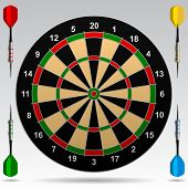 Dartboard with darts. Vector Illustration