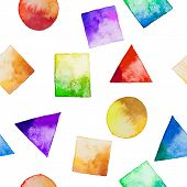 foto of circle shaped  - Seamless background with watercolor geometric shapes - JPG