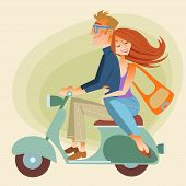 Lovers man and woman on retro bike going down the road