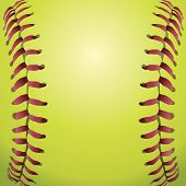 foto of softball  - A closeup background illustration of softball laces - JPG