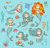 foto of mermaid  - Cute vector set with happy mermaids - JPG