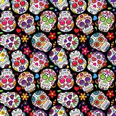 picture of skull cross bones  - Day of the Dead Sugar Skull Seamless Vector Background - JPG