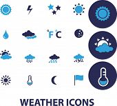 weather, climate isolated design flat icons, signs, illustrations vector set on background