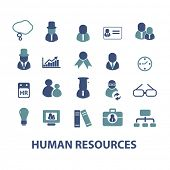 human resources, management, organization, structure isolated design flat icons, signs, illustrations vector set on background
