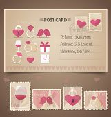 Vintage postcard background and Postage Stamps - for wedding card design, invitation card design, congratulation card design, scrapbook design