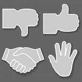 Illustration icon hand. Signs with his hands, good, bad, stop, handshake.