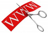 Scissors and www (clipping path included)