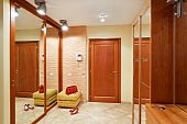 pic of anteroom  - Elegance anteroom interior in warm tones with hallstand and mirror - JPG
