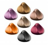 foto of hair dye  - hair samples of different colors on white background - JPG