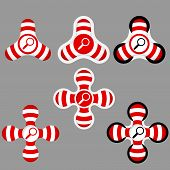 Abstract Red And White Icons