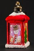 Red Christmas Lantern With Snowman And Children Decoration