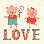 Cute card with two pigs in love