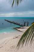 Wooden Pier Isla Mujeres, Tropical Island, Caribbean, Cancun. Traveling Riviera Maya. Mexico Adventu
