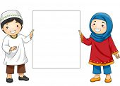 image of muslim  - Illustration of Muslim Kids in Traditional Clothing Holding a Blank Board - JPG
