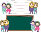 Illustration of Female Muslim Students Standing Beside Blank Boards