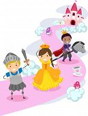 picture of stickman  - Illustration of Stickman Kids Dressed as Knights Protecting a Make Believe Princess - JPG