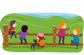 Illustration of Stickman Farm Kids Hanging Around a Fence