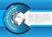 Vector blue background for brochure or flyer with a globe. Suitable for spedition, transport and travel company.