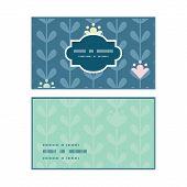 Vector blloming vines stripes horizontal frame pattern business cards set