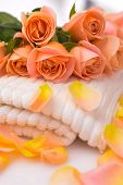 Objects for Spa, body care : towel and orange rose still life