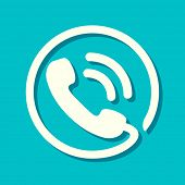 Flat phone icon in retro style. Phone symbol with shadow on aqua background