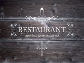 Vector wood background with decoration for restaurant signboard.