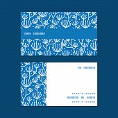 Vector blue white lineart plants horizontal stripe frame pattern business cards set