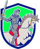 Knight Riding Horse Sword Cartoon